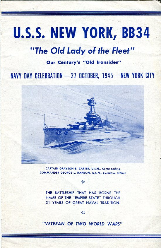 Image for USS New York, BB34 'The Old Lady of the Fleet' Navy Day Celebration Program, 27 October, 1945, New York City