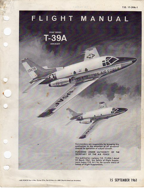 Image for Flight Manual USAF Series T- 39A Aircraft (T.O. 1T- 39A- 1) (North American Sabreliner)