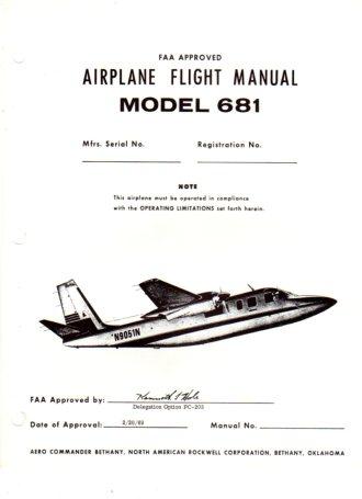 Image for FAA Approved Airplane Flight Manual Model 681 Hawk Commander