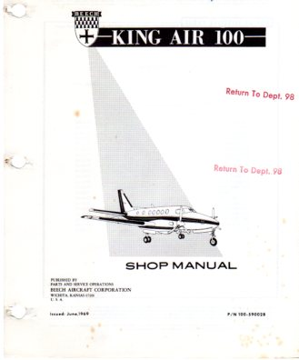 Image for Beech King Air 100 Shop Manual (P/N 100- 590028)