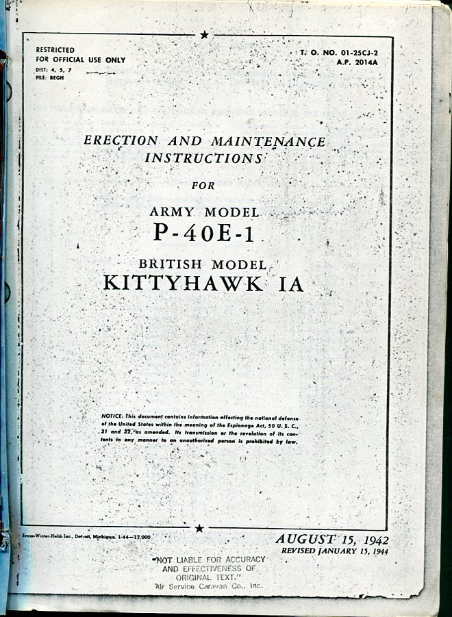 Image for Erection and Maintenance Instructions for Army Model P- 40E- 1 British Model Kittyhawk IA (T.O. No. 01- 25CJ-2, A.P. 2014A)