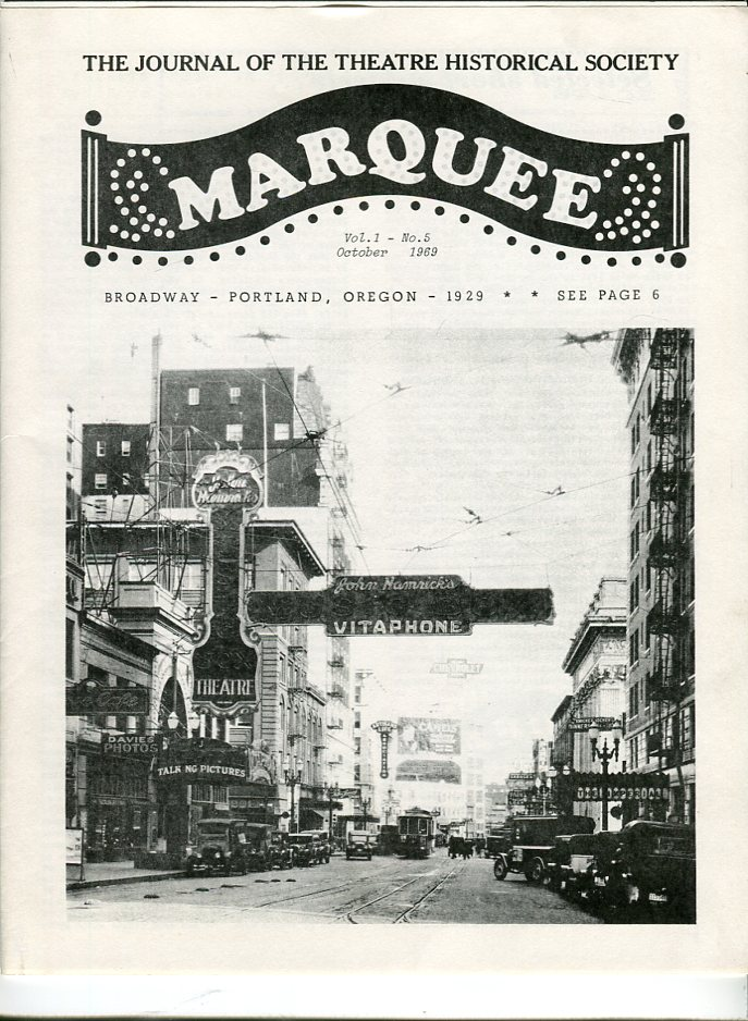 Image for Marquee: The Journal of the Theatre Historical Society of America, Volume 1, No. 5, October 1969