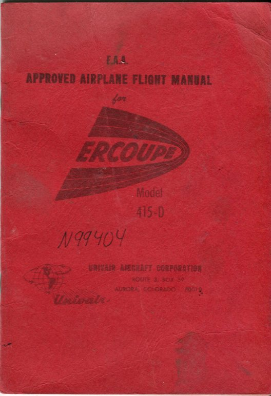 Image for F.A.A. Approved Airplane Flight Manual for Ercoupe Model 415- D