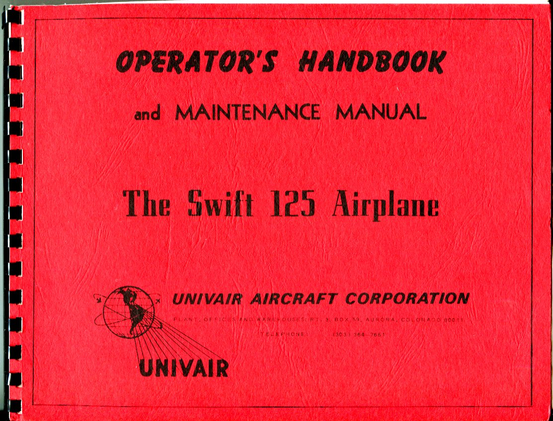 Image for Operator's Handbook and Maintenance Manual: The Swift 125 Airplane