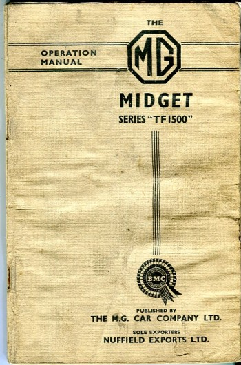 Image for The MG Midget Series (TF1500) Operation Manual