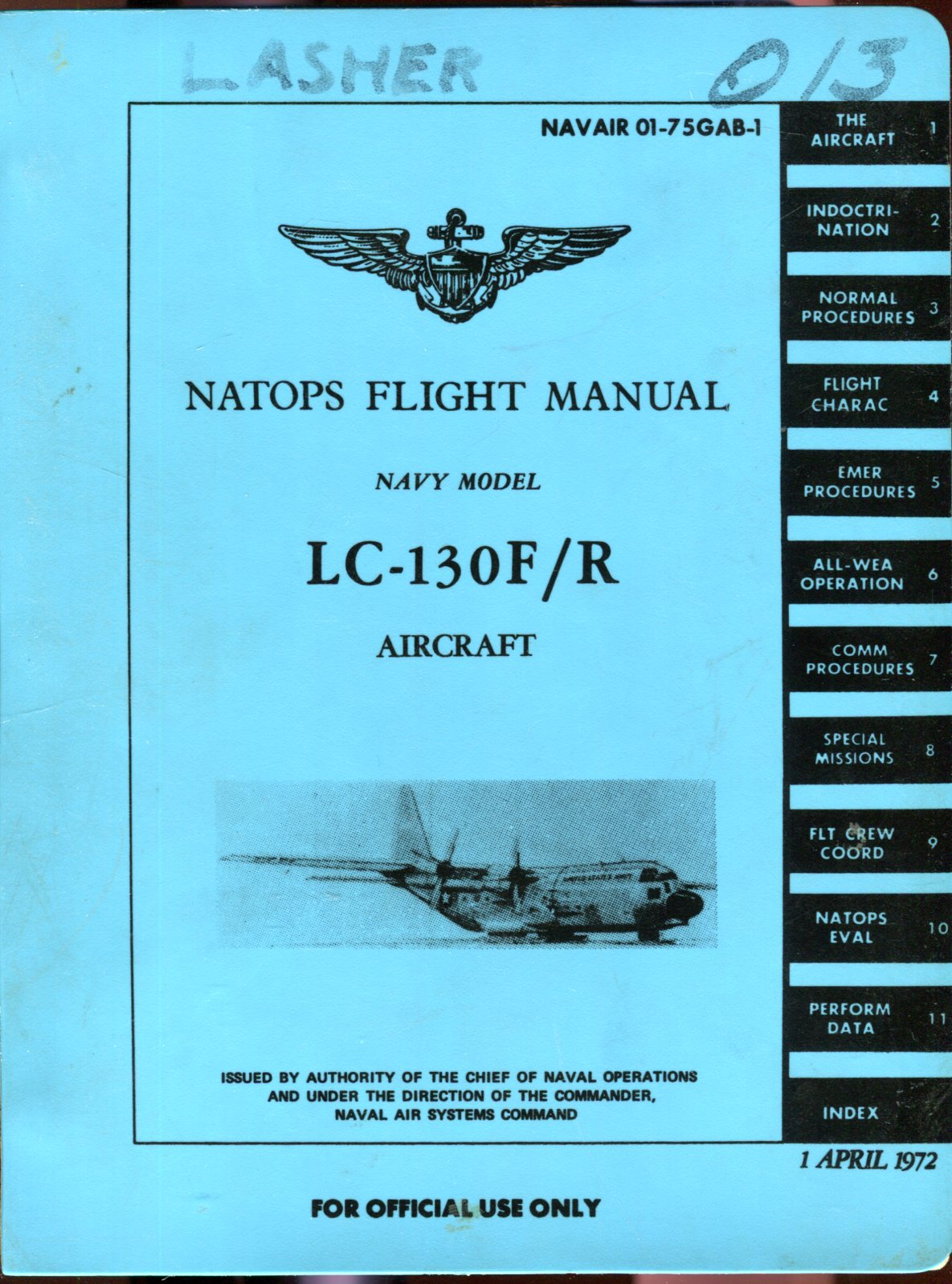 Image for Natops Flight Manual Navy Model LC-130F/R Aircraft (NAVAIR 01-75GAB-1)
