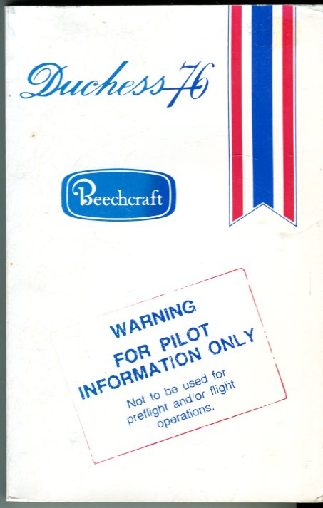 Image for Beechcraft Duchess 76 Pilot's Information Manual (P/N BAC-721 FTM)