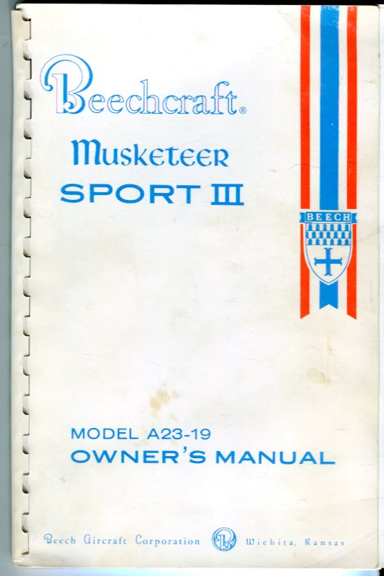 Image for Beechcraft Musketeer Sport III Model A23-19 Owner's Manual (169-590002-1)