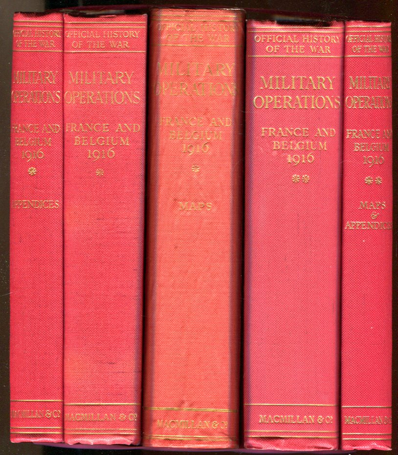 Image for Military Operations France and Belgium, 1916: (5 Volumes, Complete); 2 Text Volumes + 2 Volumes of Appendices/Maps + Volume I Map Case